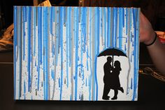 My boyfriend and i took a silhouette photo and dripped paint down a canvas Boyfriend Canvas, Boyfriend Gifts, Diy Canvas, Canvas Ideas, Craft Gifts, Diy Gifts, Dorm Art, Drip Painting, Melting Crayons