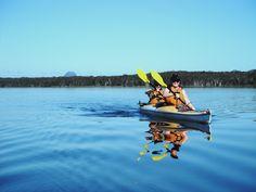 Heading across Lake Cootharaba. #kakaking #NoosaEverglades @kanukapersAust
