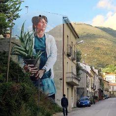 Street Art, by Fintan Magee, Sapri, Italy Murals Street Art, 3d Street Art, Urban Street Art, Amazing Street Art, Mural Art, Street Art Graffiti, Street Artists, Amazing Art, Illusion Kunst