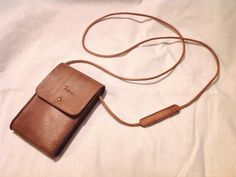 Leather neck pouch bag