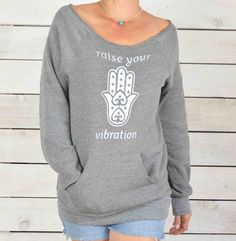 Raise Your Vibration - Grey Dancer Neck Sweatshirt – SuperLoveTees   Graphic Tees Inspired By Love