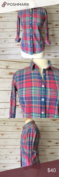"""J. Crew Blue & Pink Plaid Button Down Shirt Preppy multi pink and blue plaid button down by J. Crew. ▪️20"""" pit to pit ▪️24"""" long ▪️15"""" shoulder to shoulder ▪️In great condition   🚭 Smoke-free home 📬 Ships by next day 💲 Price negotiable  🔁 Open to trades  💟Happy Poshing!💟 J. Crew Factory Tops Button Down Shirts"""