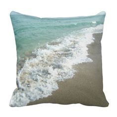 """<font size=""""5""""><a href=""""http://www.zazzle.com/cutencomfy/beach+waves+gifts"""">★★CLICK HERE for Similar and Matching Items ★★</a></font>Enjoy a bit of paradise with this fun and stylish ocean shore beach pillow, featuring white waves and clear water, crashing on a beach of white tan sand.  Nice relaxing throw cushion for the living room or bedroom.  A lovely accent to a coastal decor or blue, tan and brown color scheme interior design."""
