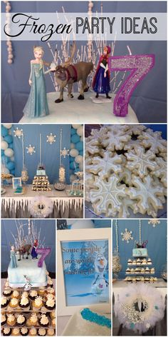 Here are some great Disney's Frozen birthday party ideas, perfect for a girl birthday, and check out that Frozen cake! See more party ideas at CatchMyParty.com.