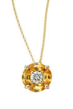 Freya Orange Sapphire & Diamond Pendant #pendant #finejewelry #jewelry #orangesapphire #sapphire #diamonds #gemstones #JaumeLabro