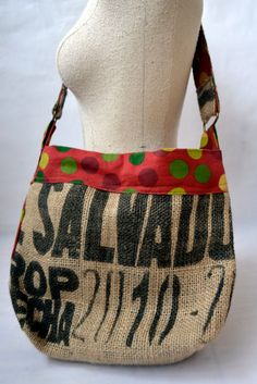 Recycled Burlap Coffee Sack Handbag. $45.00,