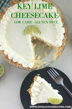 A key lime cheesecake that is set in a coconut crust makes a luscious dessert. A great low carb and gluten free dessert for summer. A key lime cheesecake that is set in a coconut crust makes a luscious dessert. Sugar Free Desserts, Gluten Free Desserts, Low Carb Desserts, Dessert Recipes, Healthier Desserts, Low Carb Diets, Key Lime Cheesecake, Keto Cheesecake, Keto Brownies