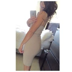 """THE BASIC """"KIM"""" NUDE DRESS BRAND NEW - size M nude, ribbed, adjustable spaghetti strap dress, perfect for any night or day out! Dress is super comfortable with very forgiving stretch to fit those perfect curves. Dress can also fit as a M/L due to great stretch. Don't miss out on the nude dress staple! More sizes available, please inquire below! Dress also available in Olive and Black! Pls msg below for inquiries! *Price is FIRM* Boutique Dresses Midi"""