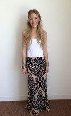 taupe and black damask print maxi skirt - three bird nest