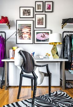 The guest bedroom has been transformed into an office and fashion closet.