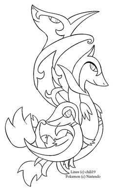 Snivy Family Lineart By Chili19deviantart On DeviantArt Coloring Pages For Kids