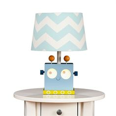 Blue and yellow robot lamp base with chevron shade for kid's room or nursery décor
