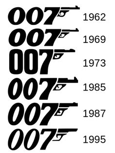 jamesbondlexicon: Evolution of the 007 Logo james bond movies Thème James Bond, James Bond Party, James Bond Theme, James Bond Movie Posters, James Bond Movies, Film Posters, Bond Girls, Sean Connery, Gentlemans Club
