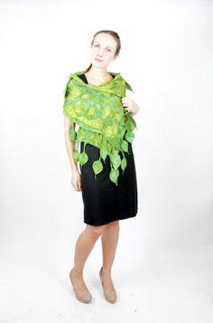 Leaf Nuno Felted Scarf Spring   green by KateRamseyFelt on Etsy, $68.00