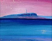 Original Scottish mounted landscape painting. Pladda Lighthouse, the view from Arran