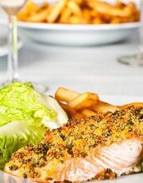 Mary Berry - baked salmon with paremesan and herb crust. Mary Berry, Salmon Recipes, Fish Recipes, Seafood Recipes, Cooking Recipes, Seafood Meals, Fish Dishes, Seafood Dishes, Healthy Dishes