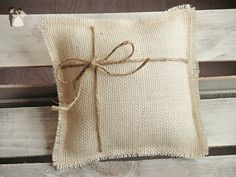 Off-White Burlap Ring Bearer Pillow with Jute Twine - Venue and reception decor (*Amazon Partner-Link)