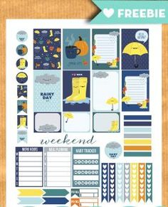 Free printable rainy fall weekly kit stickers for your planner - PDF Silhouette cut files included. More free planner printables on lovelyplanner.com