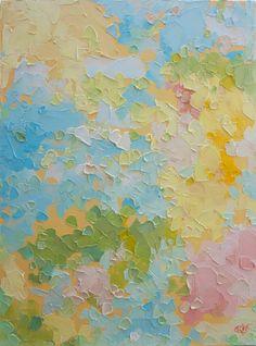 Candy - Original Ölgemälde in fröhlich gelb, Baby Rosa, blaue und grüne Pastelltöne (31 x 41 cm - ca. 12 x 16 in)