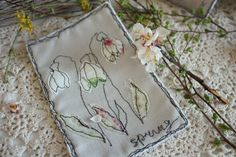 Hand things: Textile Cards Spring flowers