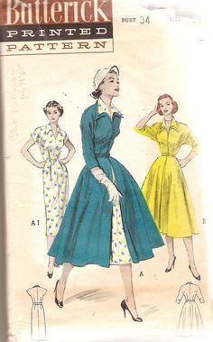 1950s Dress Pattern Coat Redingote Pattern Bust by CherryCorners, $15.00