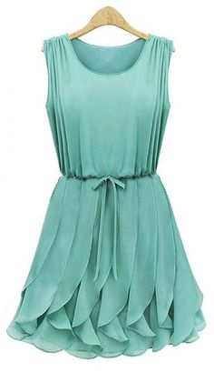 You can wear this Ruffled Sleeveless Chiffon Dress in multiple times, from an elegant dinner look to a classic wedding look, tranforming in its multi ways. Shop at AZBRO.COM