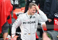 Michael Schumacher of Germany and Mercedes GP reacts in parc ferme after finishing his last F1 race following the Brazilian Formula One Grand Prix at the Autodromo Jose Carlos Pace on November 25, 2012 in Sao Paulo, Brazil.