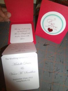 small ceremony program :  wedding program red teal Program 2