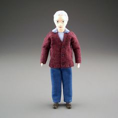 Older Man in Maroon Sweater - Erna Meyer Doll | Mary's Dollhouse Miniatures