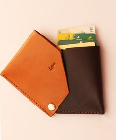 Leather wallet leather card holder wallet with safety. Designed by Ludena.