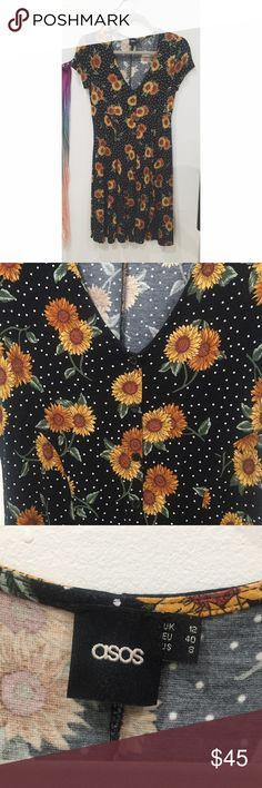 Vintage style sunflower polka dot sundress Adorable vintage feel. Buttons all the way up the front with short sleeves. More fitted at the top and then flares out. So pretty with booties. Would fit a 6 also ASOS Dresses Mini