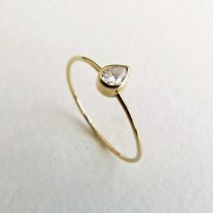 Pear Diamond Engagement Ring - Diamond Gold Ring - 14k Solid Gold. $320.00, via Etsy.