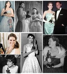 Old Hollywood at the Oscars L to R: Olivia de Havilland, Lynn Fontann presenting oscar to Ginger Rogers, Grace Kelly w/ William Holden, Natalie Wood, Audrey Hepburn, Bette Davis, Elizabeth Taylor.
