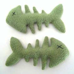 Fishbones in Green - Plush Kitchen Charm by PterodactylPants. $15.00, via Etsy.