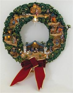 Nativity wreath - Holy Family at the center bottom, angel and star at the center top, and all around are shepherds on one side and wise men on the other side! Could use evergreen wreath and cut out characters with feltthomas kinkade festival of nati Christmas Nativity Set, Christmas Love, Christmas Ornaments, Nativity Sets, Nativity Crafts, Holiday Crafts, Holiday Wreaths, Christmas Decorations, Creations