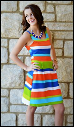 """True Colors"" Sundress, $36.99 w/ Free Shipping!  http://www.shopadorabelles.com/collections/dresses/products/true-colors-dress"