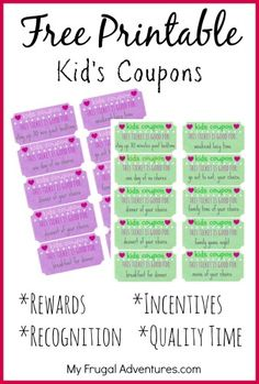"love these!! FREE Printable Kids Coupons- perfect way to recognize and reward good behavior!  ....Follow for Free ""too-neat-not-to-keep"" teaching tools & other fun stuff :)"