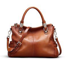 0a8162e6b1 Kattee Women s Urban Style Genuine Leather Tote Satchel Shoulder Handbag  Brown  Handbags  Amazon.