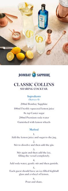 Classic Collins Sharing Cocktail | A step-by-step guide to creating a Bombay Sapphire Classic Collins Sharing Cocktail | 200ml Bombay Sapphire | 100ml Freshly squeezed lemon juice | 8 tsp Rich simply syrup (or caster sugar) | 200ml Premium soda water | Lemon wheels to garnish