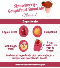Making your own smoothies can help prevent fruits from going to waste, while providing benefits that will keep you on the right track towards good health. So today, I took one of my favorite Strawberry-Grapefruit Smoothie in the out! You'll never find a prettier – or more refreshing! – smoothie.  Makes 4 refreshing servings for Phase 1.