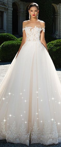 Fashionable Tulle & Satin Off-the-shoulder Neckline A-Line Wedding Dresses With Beaded Lace Appliques