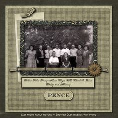 The Pence Family, pg. 1 ~ Striking two page heritage digi layout with the look of an old-fashion scrapbook.