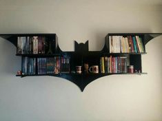 Bookshelf Ideas That Will keep Your Books Organized And Looking Amazing - Decoration and Design Batman Bookshelf, Bookshelves, Bookcase, Bookshelf Ideas, Desk Ideas, Batman Bedroom, Batman Room Decor, Geek Bedroom, Geek Decor