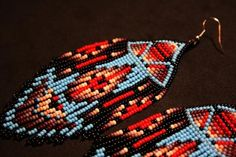 Aztec Earrings, Beaded Earrings Patterns, Seed Bead Earrings, Fringe Earrings, Native American Beadwork, Indian Beadwork, Beading Techniques, Bead Jewellery, Jewelery