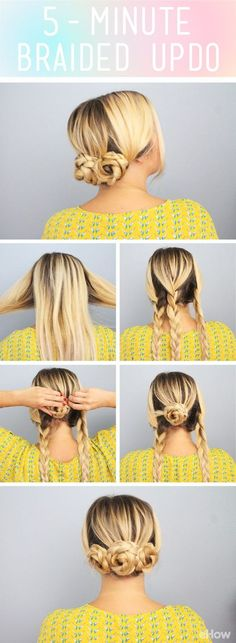 Braided Updo This adorable updo takes only 5 minutes! Cute for a work or out with the girls (brunch look complete! This fuss-free hairstyle works for those times when you are in a rush but still want to look put together. 5 Minute Hairstyles, Dance Hairstyles, Cute Girls Hairstyles, Trendy Hairstyles, Edgy Haircuts, Curly Haircuts, Summer Hairstyles, Wedding Hairstyles, Childrens Hairstyles