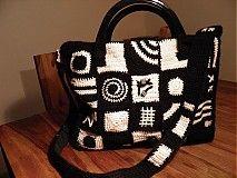 Kabelky - Čierno-biela patchworková kabelka - 2197201