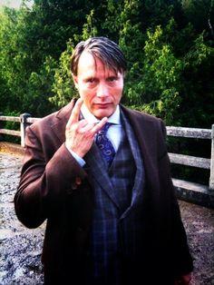 "Mads Mikkelsen. Courtesy Bryan Fuller's twitter. ""Plaids Mikkelsen is ready to rock"" is courtesy NBC Hannibal tumblr tags. #Hannibal #Fannibal #HeAteUs #EatTheRude"