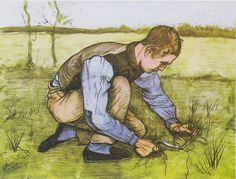 Crouching boy with sickle