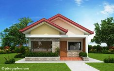 26 Stunning 3 Bedroom House Plans With Front View Design Small Bungalow, Modern Bungalow House, Bungalow House Plans, New House Plans, Small House Plans, Two Bedroom House Design, Three Bedroom House Plan, Simple House Design, Tiny House Design