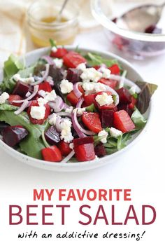 This Beet Salad is tossed with a crowd-pleasing dressing, crunchy red onions, and creamy goat cheese. The combination is totally addictive! It's gluten-free and can be made-ahead of time for an easy packed lunch. Perfect for holidays and parties, too! Eating Raw Beets, Easy Packed Lunch, Healthy Lunches For Work, Work Lunches, Pickled Beet Salad, Beet Salad Recipes, Detox Recipes, Food Combining, How To Make Salad